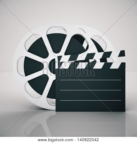 Film reel and clapper on light background. Mock up 3D Rendering
