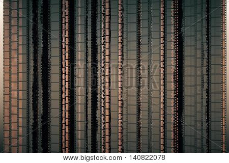 Brownish film strip background. 3D Rendering. Close up.