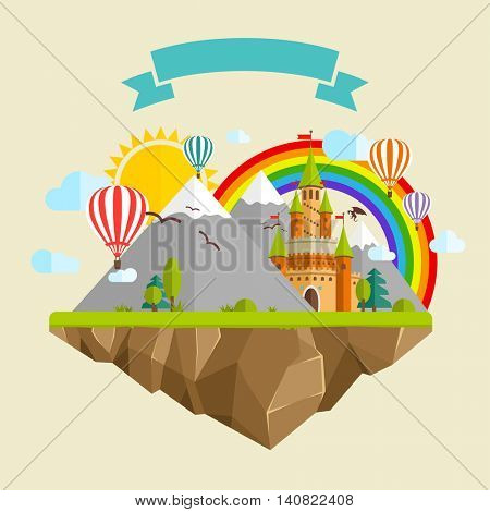 Flying island with Fairy Tale Castle, Balloons, Mountains, blue Clouds, green Trees, Sun, Rainbow, Green grass, Dragon and Ribbon
