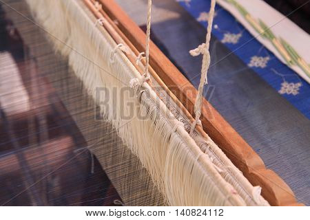 Thai silk on the traditional wooden loom