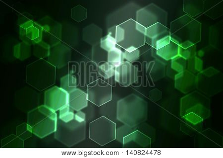 Hexagonal Bokeh abstract background use for graphic design green