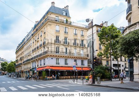 PARIS, FRANCE - July 31 : beautiful Street view of  Buildings around Paris city. Paris is the capital and most populous city of France. July 31, 2016, Paris, France.