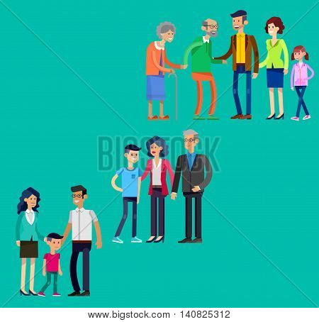 Detailed character people. Stages of life of family, young couple, first date, first baby, old parents and adult son