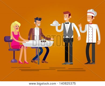 Vector detailed character people in the restaurant, canteen, catering service for public and personnel, waiter and Chef serves guests