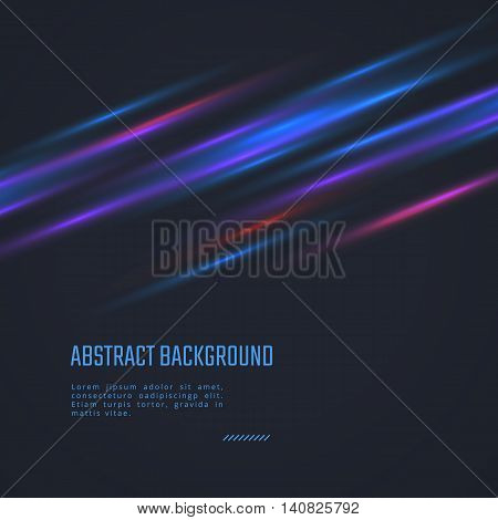 Vector futuristic abstract background. Blue motion light lines