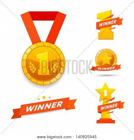 Winner set awards icons or label design. Vector flat illustration