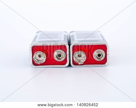 9 Volt batteries, isolated on white background.