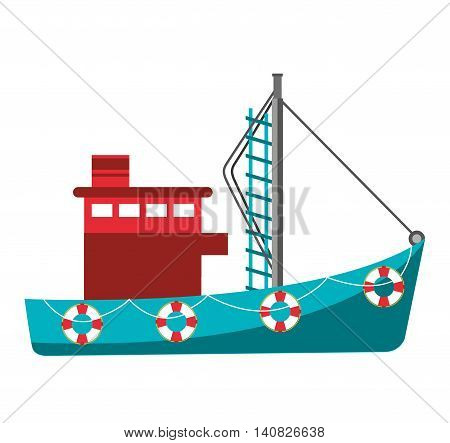 fishing boat industry icon vector illustration design