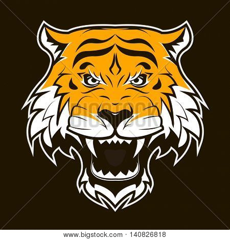 Angry Tiger Face. Roaring tiger head. Suitable as sport team mascot or tattoo. Vector Flat Illustration.