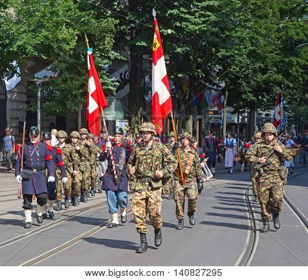 ZURICH - AUGUST 1: Swiss National Day parade on August 1, 2016 in Zurich, Switzerland. Representative of swiss army in a historical costumes.
