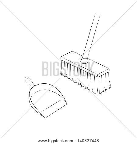 Broom and dustpan. Isolated illustration. Vector. White background