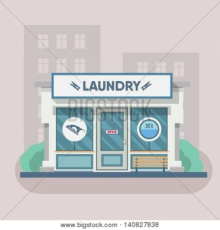 Building laundry flat design. Washing machine, building. Vector art design illustration