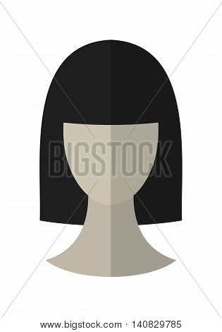 Flat icon hairstyle. Brunette. Hair wig on dummy. Vector illustration