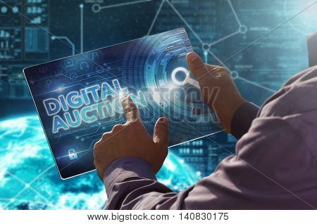 Internet. Business. Technology Concept.businessman Presses A Button Digital Auction On The Virtual S