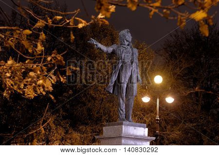 ST. PETERSBURG, RUSSIA - OCTOBER 29, 2015: Monument to Alexander Pushkin in an autumn night. The monument was opened in 1957 by design of Mikhail Anikushin