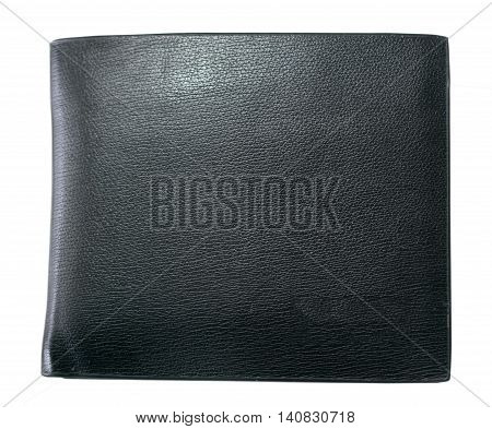 balck leather wallet isolated on white background