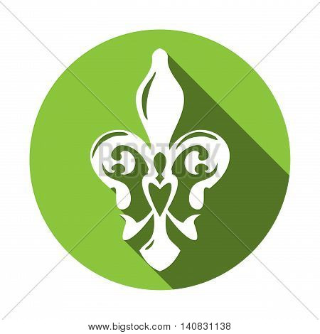 Fleur de lis symbol with long shadow. White lily in a green circle. French lily icon isolated on a white background