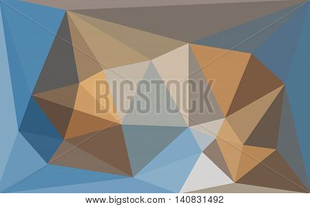 Multicolored blue and brown low poly style background. Polygonal design for your business