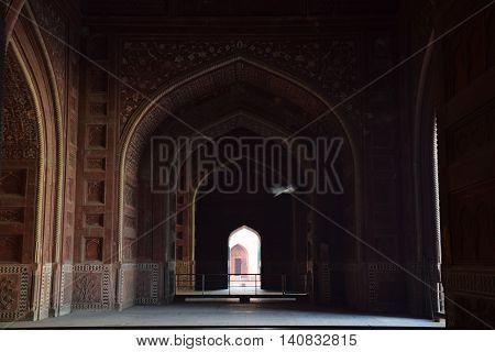 Bird flying inside Taj Mahal, Agra, Uttar Pradesh (India)