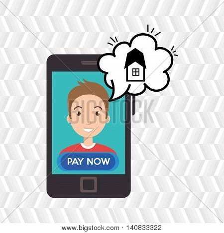man house smartphone speak vector illustration graphic