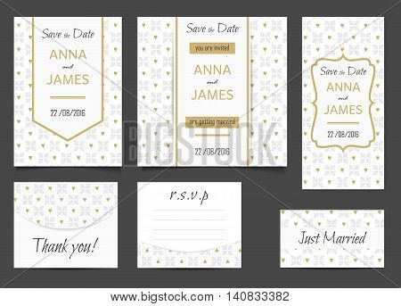 Beautiful wedding set of printed materials with a abstractl design. Wedding invitation card save the date cards R.S.V.P. and thank you card.