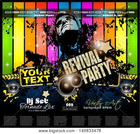Club Disco Flyer template with Music Elements , Colorful Scalable backgrounds and space for Text. Ideal for Dancing Event posters or for printed promotional materials.