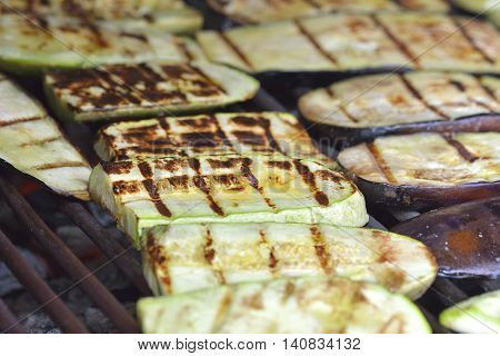 Grilled Zucchini. Slices of zucchini grilled and salted