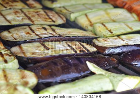 Grilled eggplants. Slices of eggplant grilled and salted
