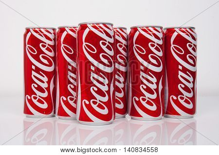 Chiangmai Thailand - September 4 2015: Photo of can of Coca-Cola. Coca-Cola is the one of the worlds favorite carbonated beverages.