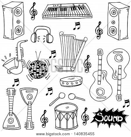 Doodle of music hand draw stock collection vector art