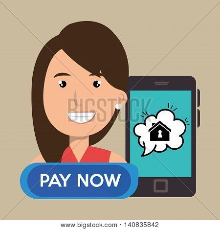 woman house smartphone speak vector illustration graphic