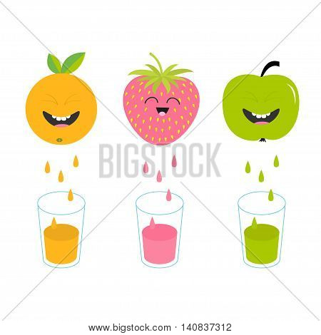 Fresh juice and glasses. Apple strawberry orange fruit with faces. Smiling cute cartoon character set. Natural product. Juicing drops. Flat design. White background. Isolated. Vector illustration