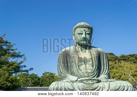 The Great Buddha with sky background at Kotokuin Temple Kamakura in Japan