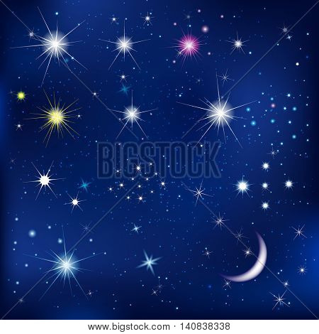 Set Of Stars And Moon, With Gradient Mesh, Vector Illustration