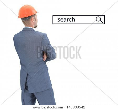 Architect in helmet  looking at search line