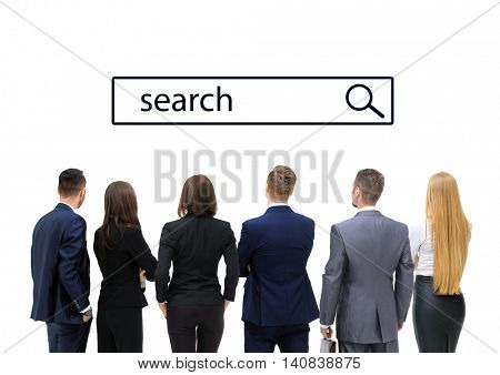 Business people looking at search line