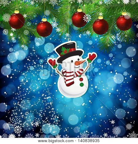 New Year design background. Template card whit red Christmas balls on the green branches . Silhouette of a Christmas tree made of stars. Falling snow. Toy decorative snowman.Holiday illustration.
