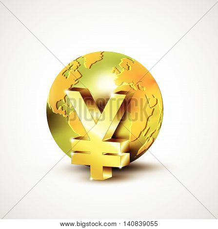 World Economic Concept With 3D Gold World And Yen Currency Isolated On White Background, Vector Illu