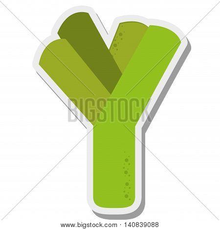 flat design scallion onion icon vector illustration