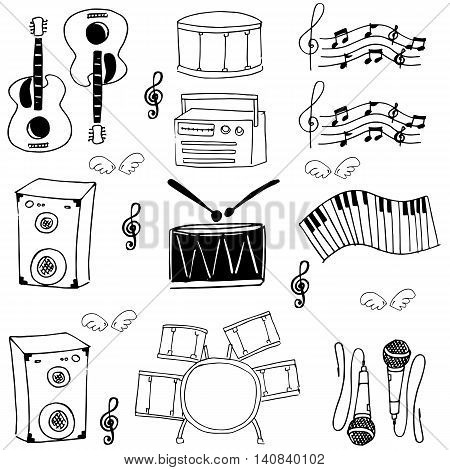 Doodle of tool music stock collection vector illustration