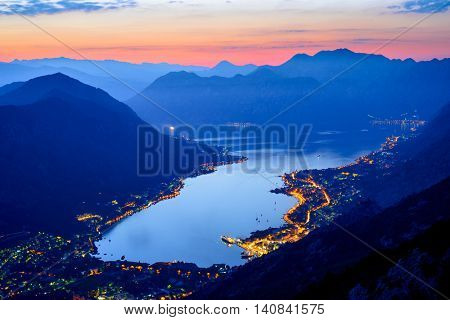 Bay of Kotor at Night. Panorama of Boka-Kotorska bay. Aerial View of Kotor Old Town, Montenegro.