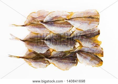 Dried fish preservation on a white background.