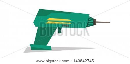 Electric hand drill vector flat design illustration isolated on white background.