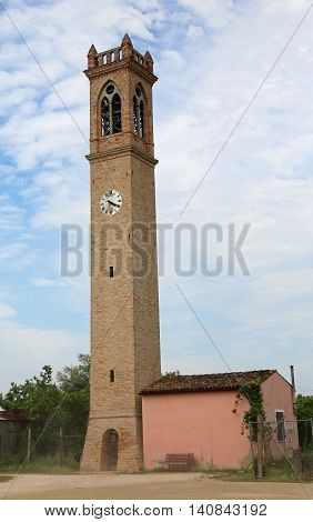 Church Tower With Clock Near Venice In Italy