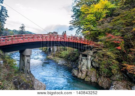Nikko sacred Shinkyo Bridge in Nikko Japan.
