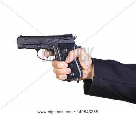 Man hand holding black gun isolated on white