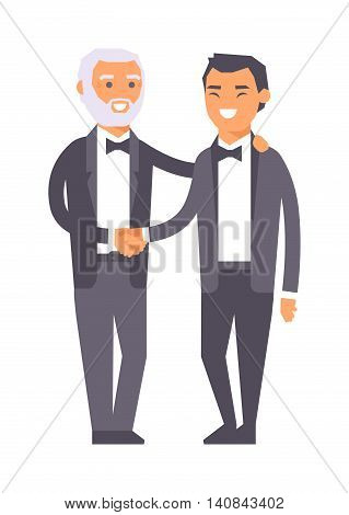 Businessman meeting handshake industrial business team partnership character vector illustration. Meeting handshake team agreement and meeting handshake corporate success contract.