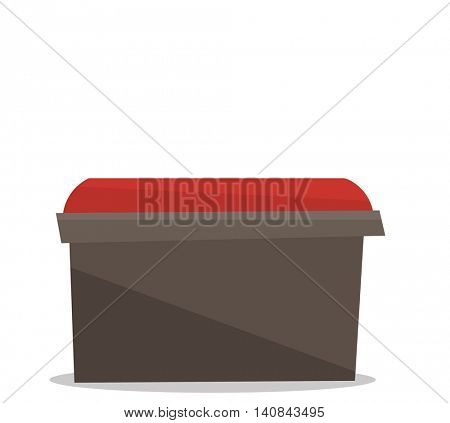 Bedside red chair vector flat design illustration isolated on white background.