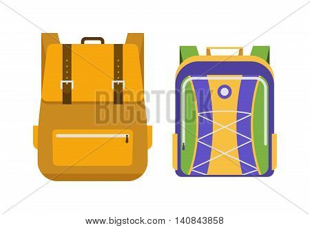 Kids school bags isolated on white background. Cartoon style school bags handle strap sack, textile rucksack. School bags children equipment. School supplies educational full schoolbag adventure.