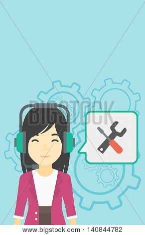 An asian operator of technical support wearing headphone set. Technical support operator and speech square with screwdriver and wrench. Vector flat design illustration. Vertical layout.